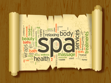wholesome: Spa word cloud vector illustration on a scroll of paper