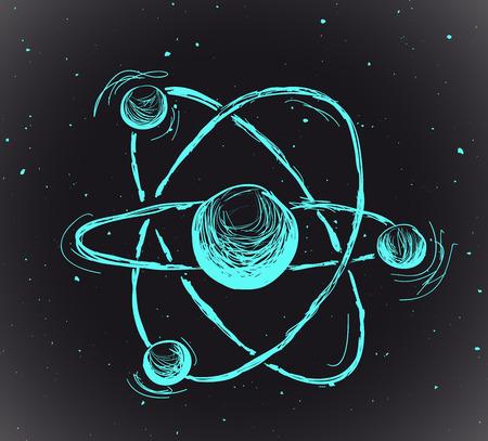 meshwork: Abstract atom. Hand drawn vector illustration Illustration