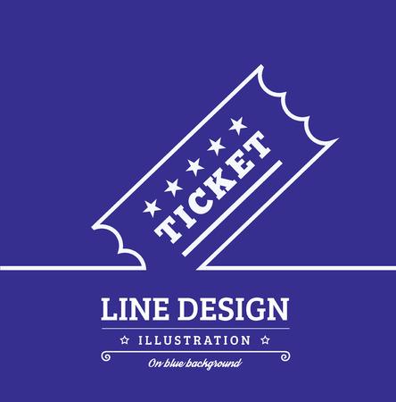 Vector Vintage Ticket tag outline thin symbol on blue background