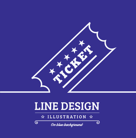 illustration line art: Vector Vintage Ticket tag outline thin symbol on blue background