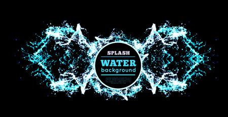 éclaboussures d'eau bleu isolé sur noir, vecteur, fond