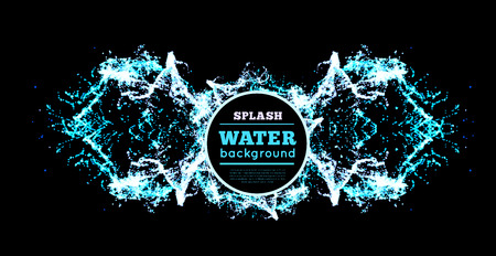 blue water: Blue water splash isolated on black, vector background
