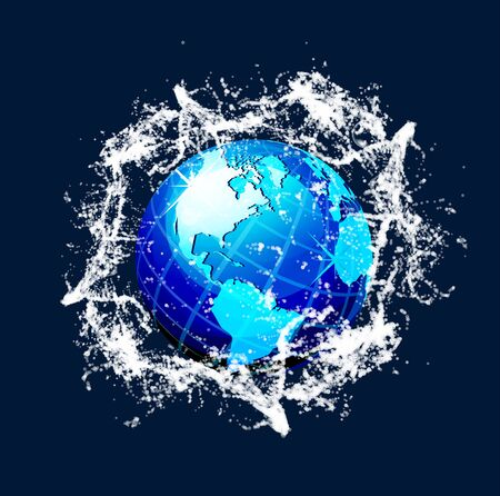 environment geography: Blue world globe with water splash effects Illustration
