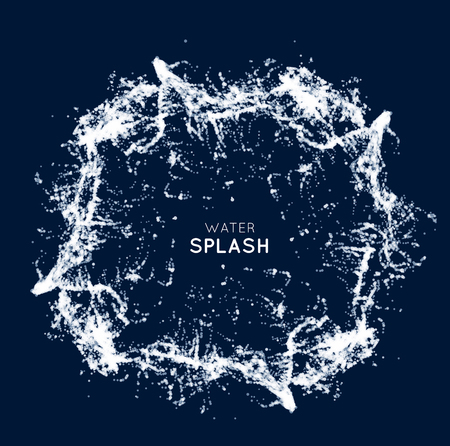 Blue water splash isolated on white, background Illustration