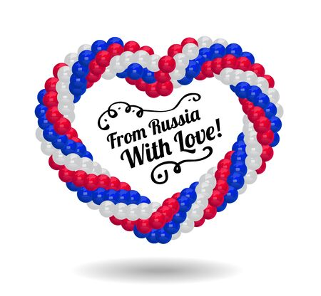 russian flag: Heart made of balloons in the colors of Russian flag. illustration