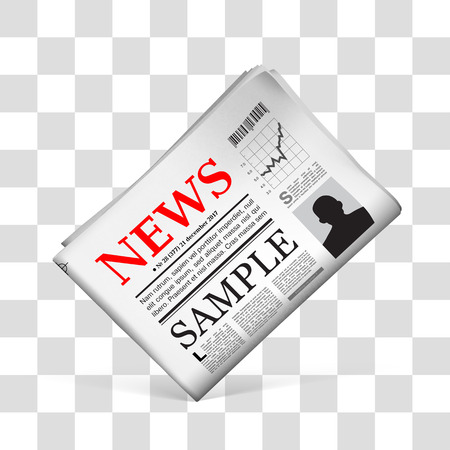 tabloid: Blank newspaper with perforated edges and texture on checkered background.  illustration