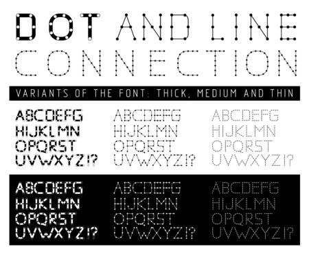 points: Font with letters composed of lines and points. illustration Illustration