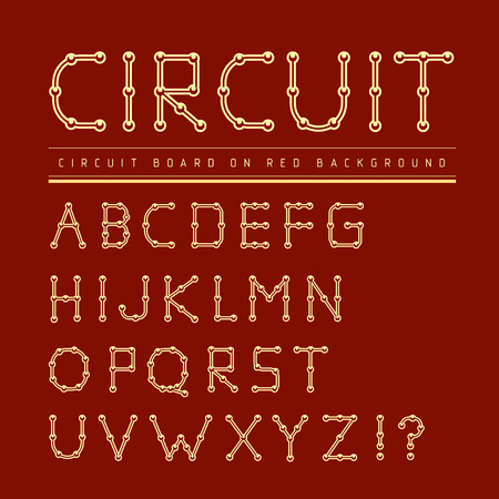 printed: Font stylized track electronic circuit board. Vector illustration