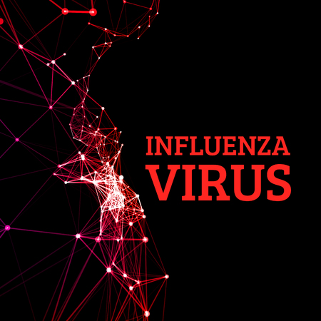 infection prevention: Influenza virus vector illustration in the style of points connected by a line, as the concept of the spread of infection