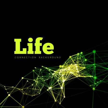 microbiologia: La vida ilustración vectorial de células conectadas en microbiología