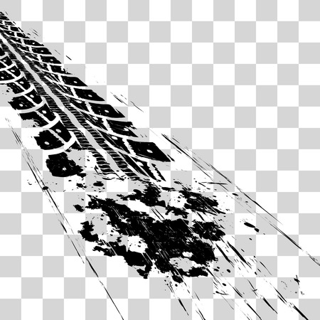 Tire tracks. Vector illustration onon checkered background Çizim