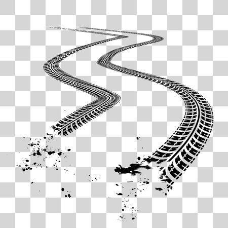 huellas de llantas: Huellas de neumáticos. Ilustración del vector en fondo a cuadros