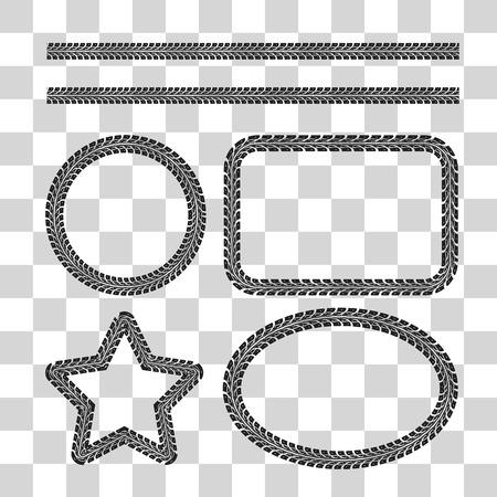 Tire tracce frame set. illustrazione vettoriale su sfondo a scacchi