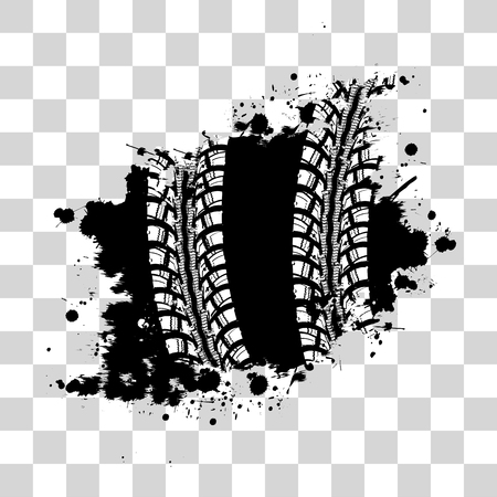 skid: Tire track vector background in black and white style on checkered background