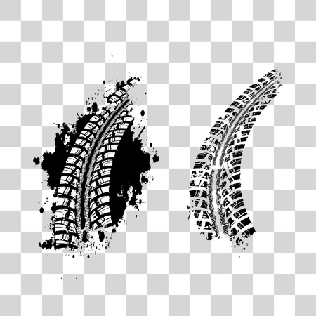 Tire track vector background in black and white style on checkered background