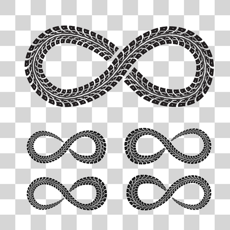 infinity road: Tire Tracks in Infinity Form vector illustration on checkered background