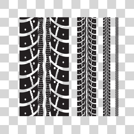 width: Tire tracks collection with different width. Vector illustration on checkered background