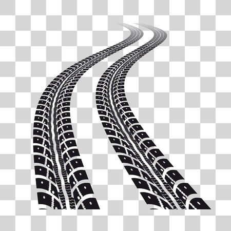 car tracks: Tire tracks.  Vector illustration on checkered background