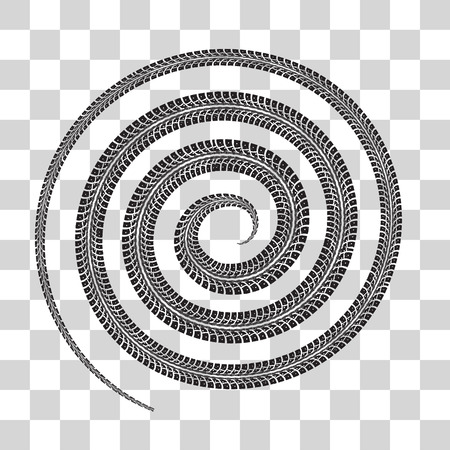 shape vector: Tire tracks in spiral shape. Vector illustration on checkered background