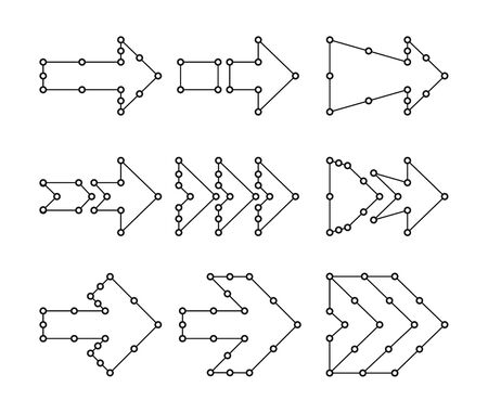 Las flechas en forma de líneas, puntos conectados.