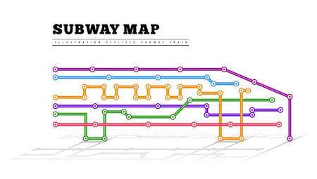 mapa del metro en la forma de un tren.