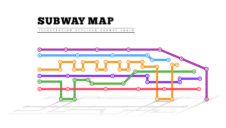 transit: Metro map in the form of a train. Illustration