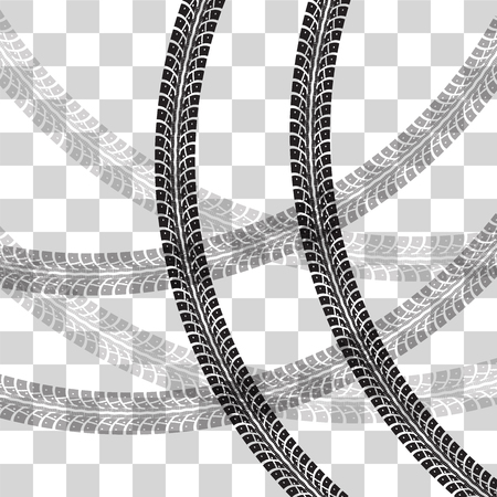 checkered background: Tire tracks. illustration on checkered background