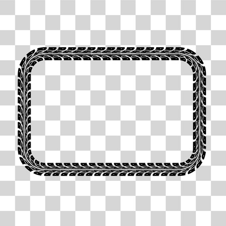 tire: Tire tracks frame set. illustration on checkered background
