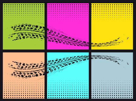huellas de llantas: Huellas de neum�ticos. Ilustraci�n del vector en estilo del arte pop