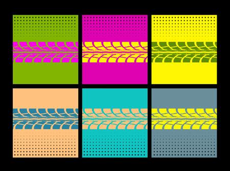 huellas de neumaticos: Huellas de neumáticos. Ilustración del vector en estilo del arte pop
