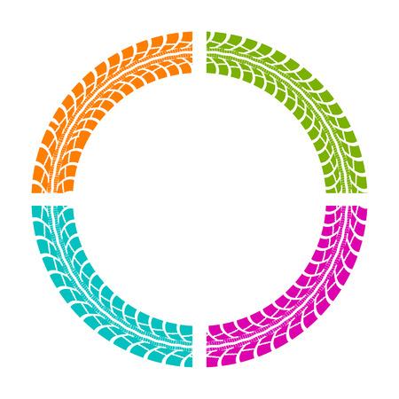 huellas de neumaticos: Huellas de neum�ticos. Ilustraci�n del vector en estilo del arte pop