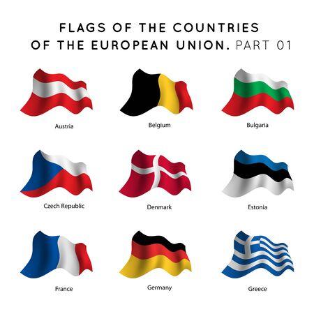 campestre: Agitando banderas de los países de la UE sobre un fondo blanco.