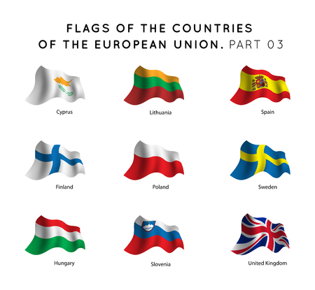 Waving Flags of EU countries on a white background.