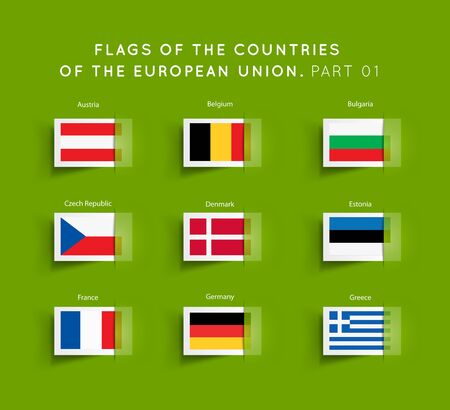 eu: Flags of EU countries on a green background.