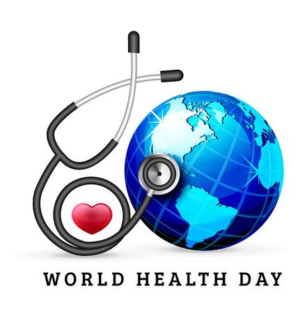 Światowy Dzień Serca ilustracji tła z globu i Stetoskop Ilustracje wektorowe