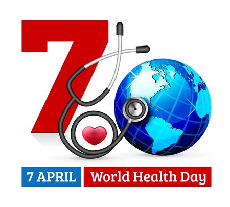 world globe: illustration World Heart Day Background with globe and stethoscope