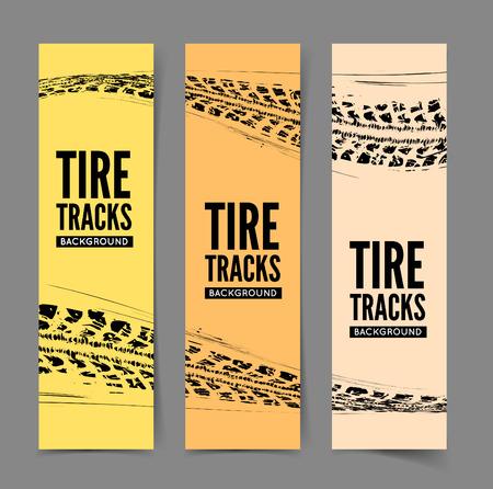 huellas de llantas: Pistas del neumático de fondo. Ilustración del vector. puede ser utilizado para posters, folletos, publicaciones, publicidad, transporte, ruedas, neumáticos y eventos deportivos