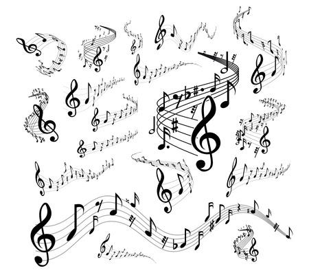 bass clef: pentagrama onduladas. situado en el fondo blanco Vectores