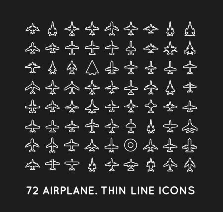 airplain: 72 thin line icons of airplanes on black background