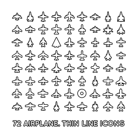 airplain: 72 thin line icons of airplanes on white background Illustration