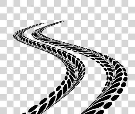 Tire tracks.   illustration on checkered background