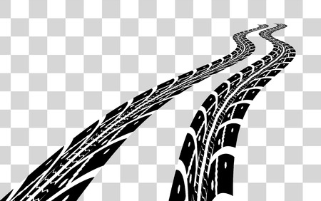 car tracks: Tire tracks.  illustration on checkered background Illustration