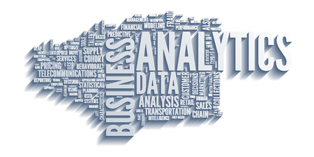 word cloud: Background concept illustration of analytics business analysis. Illustration