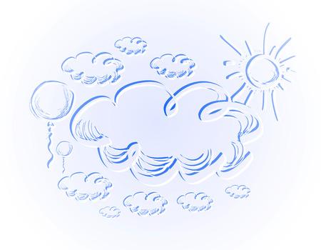 cielo de nubes: Dibujo a mano cielo con nubes y sol. Vectores