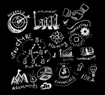 chalk board: Business hand drawn symbols.
