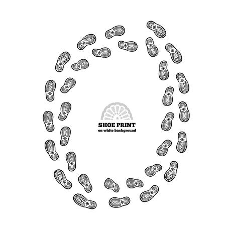 impresión: ilustración huella de zapato en el fondo blanco Vectores