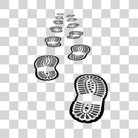botas: ilustración huella de zapato en el fondo a cuadros
