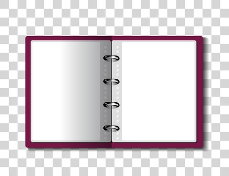 Red ring binder folder on checkered background. illustration