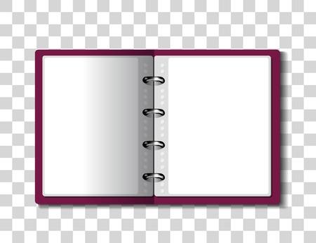 Red ring binder folder on checkered background. illustration
