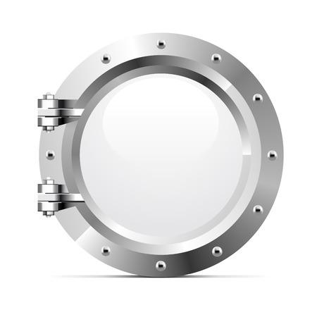 Ship metal porthole on white background. Vector illustration